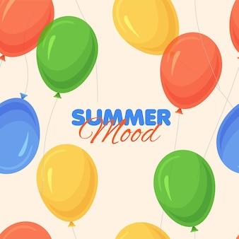 Modello senza cuciture di palloncini di colore brillante dei cartoni animati summer mood