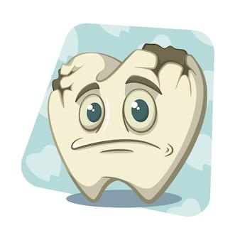 Personaggio dei cartoni animati dente rotto Vettore Premium