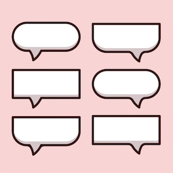 La bolla del fumetto parla e pensa alla raccolta dell'icona. bolle vuote di pensiero con le ombre. set di adesivi di comunicazione, come chat, feedback, emozione, recensione
