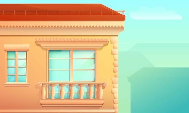 Facciata della costruzione del fumetto con un balcone e una finestra nel vecchio stile, illustrazione di vettore
