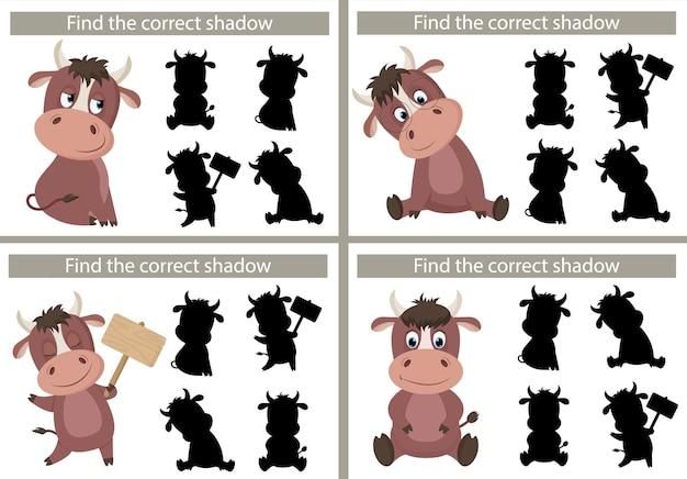 Toro dei cartoni animati. trova l'ombra giusta. gioco educativo per bambini. illustrazione vettoriale, stile cartone animato.