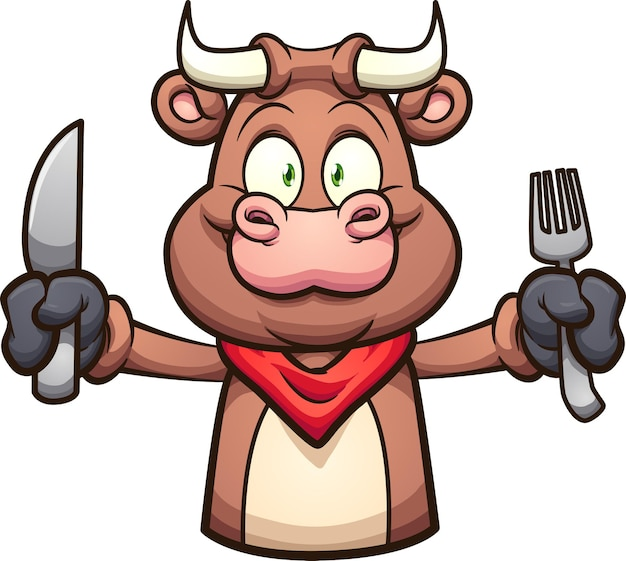 Toro del fumetto con il braccio esteso che tiene un coltello e una forchetta.