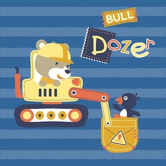 Cartone animato di bulldozer con simpatici animali