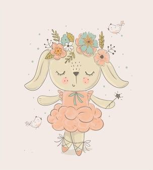 Cartoon bunny ballerino di balletto disegnato a mano illustrazione vettoriale