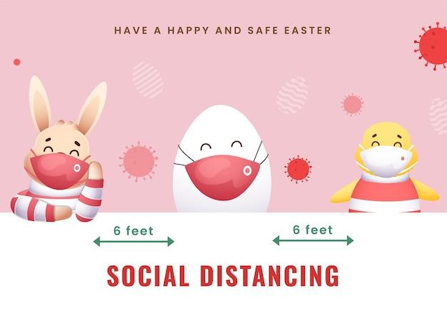 Coniglietto del fumetto con l'uovo, pulcino che indossa la maschera protettiva e mantenere le distanze sociali in occasione del festival di pasqua.