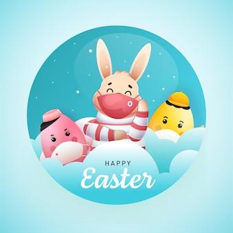 Coniglietto del fumetto con le uova che indossa la mascherina medica su fondo blu lucido per il concetto di pasqua felice.