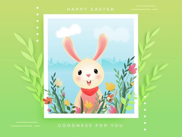 Coniglietto di cartone animato con paesaggio floreale in cornice o fotografia su verde