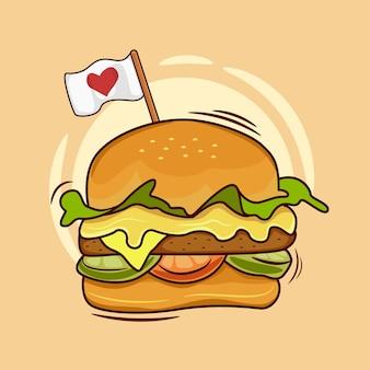 Hamburger di cartone animato con una bandiera d'amore
