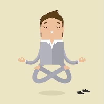 L'uomo d'affari dei cartoni animati sta facendo yoga
