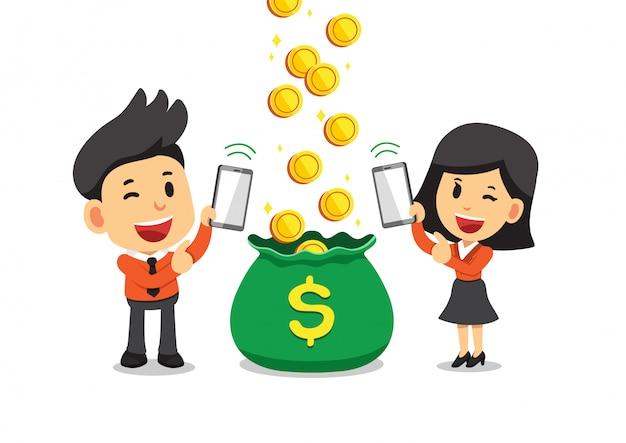 Gente di affari del fumetto che guadagna soldi con gli smartphone