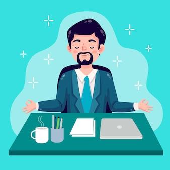 Gente di affari del fumetto meditando illustrazione