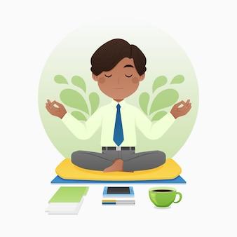 Persona di affari del fumetto meditando