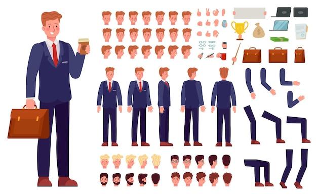 Corredo del carattere dell'uomo d'affari del fumetto. impiegato d'ufficio maschio in tuta con valigetta e parti del corpo, espressioni del viso per set di vettori di animazione. accessori come laptop, documenti, cellulare