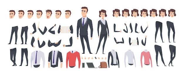 Corredo della creazione dell'uomo d'affari del fumetto. donna d'affari e uomo o manager costruttore, gesto del corpo e acconciatura ed emozioni insieme vettoriale. kit illustrazione personaggio uomo, set creazione body