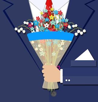 Mano dell'uomo d'affari del fumetto che tiene il mazzo di fiori