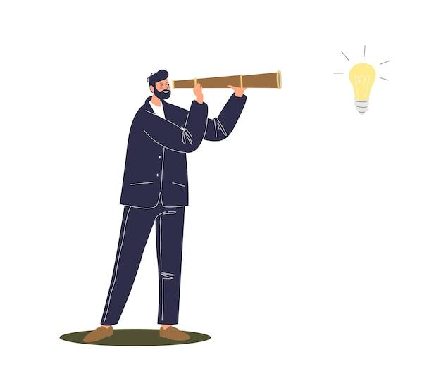 Uomo d'affari del fumetto che osserva tramite il cannocchiale sulla lampadina, nuovo simbolo di idea. uomo d'affari alla ricerca di un nuovo concetto di avvio e ispirazione.