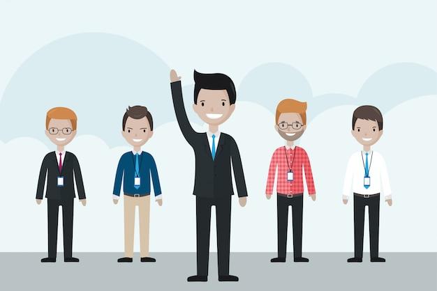 Uomo d'affari del fumetto in piedi davanti al gruppo, alzando la mano