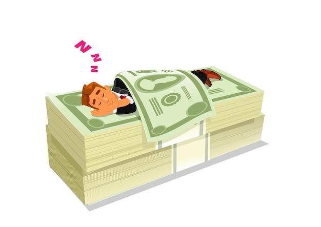 Uomo d'affari del fumetto in vestito che dorme o che sonnecchia sul pacchetto o sul mucchio di contanti o soldi. concetto di investimento azionario di successo o reddito passivo, ricchezza e ricchezza, libertà finanziaria.