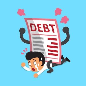 Cartoon un uomo d'affari con una grande lettera di debito