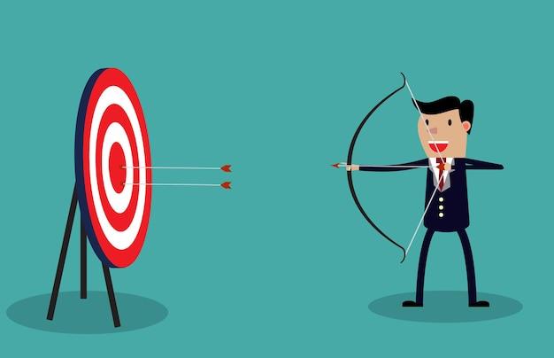Uomo d'affari cartone animato con arco e frecce