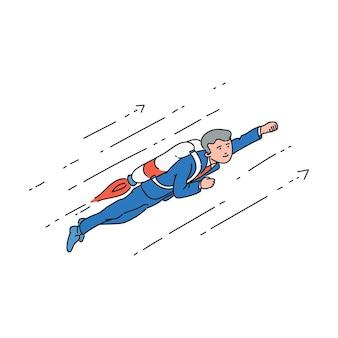 Uomo d'affari del fumetto con jetpack che vola in alto nella posa del supereroe. giovane uomo in giacca e cravatta che raggiunge il successo e la crescita professionale nella velocità del razzo, piatto isolato disegnato a mano