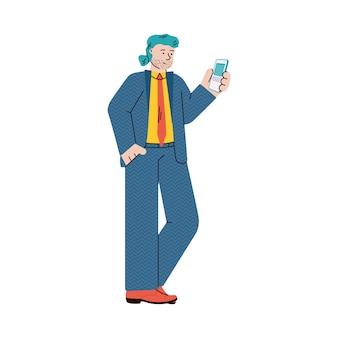 Uomo d'affari del fumetto con illustrazione vettoriale piatto smartphone isolato.