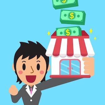 Donna d'affari cartoon guadagnare soldi con la sua attività