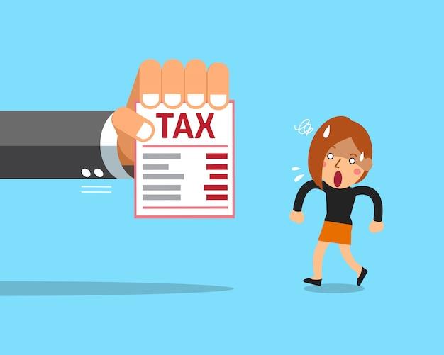 Donna di affari e tassa del fumetto Vettore Premium