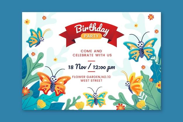Modello di invito di compleanno farfalla cartone animato
