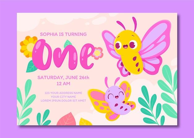 Modello dell'invito di compleanno della farfalla del fumetto
