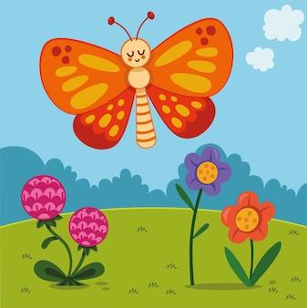 Personaggio dei cartoni animati farfalla in natura illustrazione vettoriale