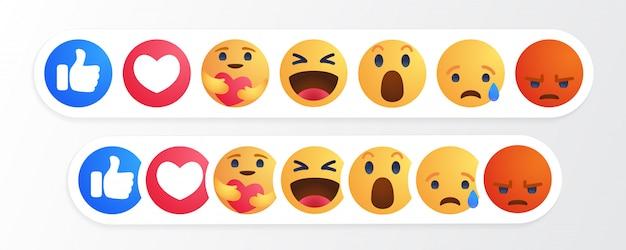 Pulsante cartoon reazioni emoji con reazione new care
