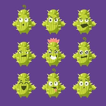 Cartone animato cactus emoji set