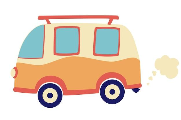 Autobus camper dei cartoni animati. auto retrò. viaggiare vacanze estive in famiglia omnibus. concetto di poster per le vacanze. surf camp, pullman da viaggio per camper in design piatto. elemento per logo, poster, banner, ecc.