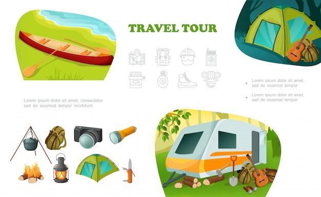 Cartoon colorato campeggio composizione con camper rimorchio canoa tenda chitarra zaino pentola sul fuoco fotocamera torcia lanterna coltello ascia