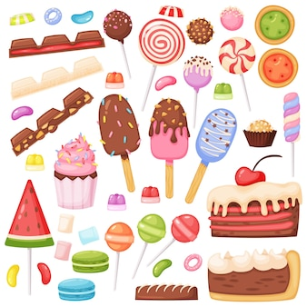 Cartone animato caramelle dessert biscotti lecca-lecca gelato gelatina marshmallow fette di torta al cioccolato set vettoriale