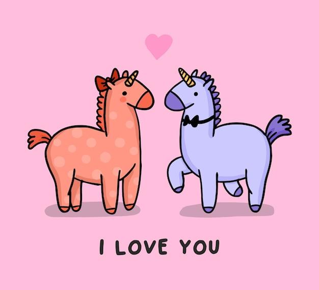 Carta cartone animato rosa unicorni innamorati