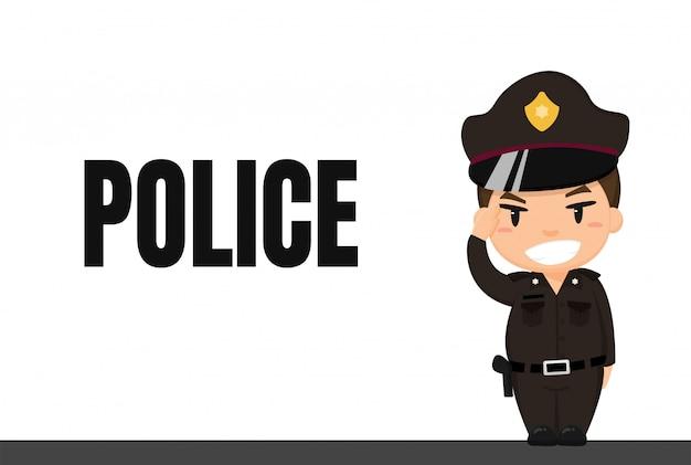 Carriera dei cartoni animati polizia thailandese in uniforme con postura di rispetto mentre era in servizio.