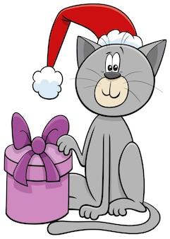 Personaggio animale gatto dei cartoni animati con regalo nel periodo natalizio