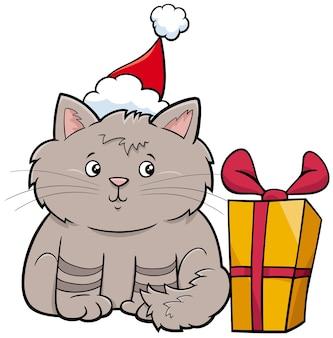 Cartone animato gatto o gattino personaggio animale con regalo a natale