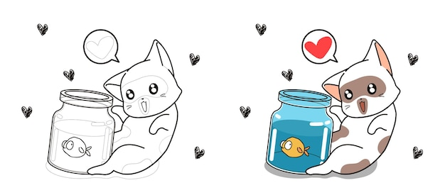 Pagina da colorare di gatto e pesciolino del fumetto per i bambini