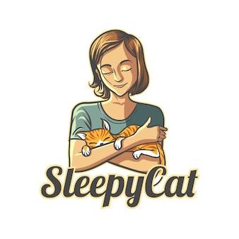Logo cat lover character mascot del fumetto