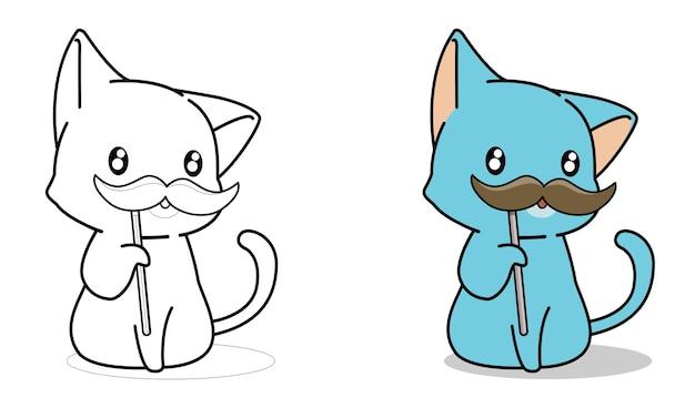 Pagina da colorare di cartoni animati gatto e baffi per bambini