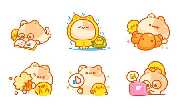 Gatto dei cartoni animati con diverse pose ed emozioni
