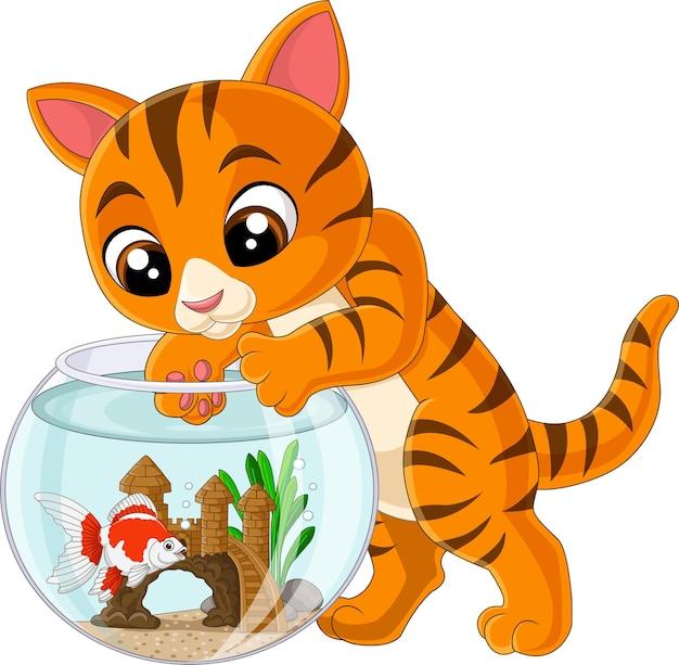 Gatto dei cartoni animati che cerca di prendere un pesce dall'acquario