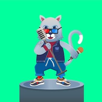 Cantante del gatto dei cartoni animati di una rock band