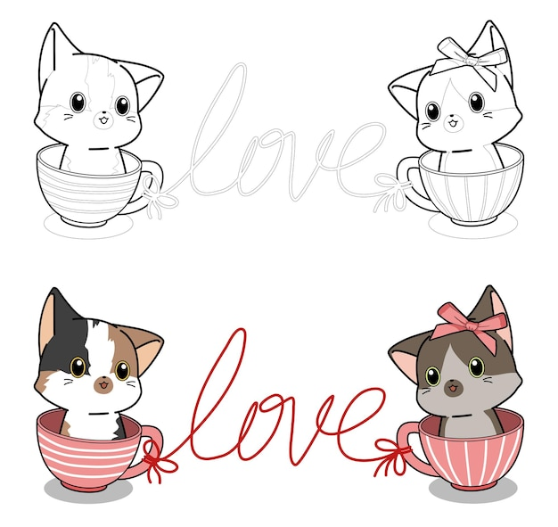 I gatti dei cartoni animati sono amante della pagina da colorare facilmente per i bambini