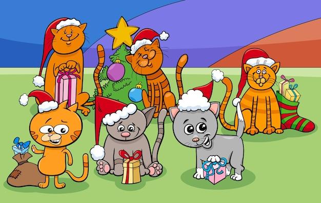 Gruppo di personaggi dei gatti dei cartoni animati nel periodo natalizio
