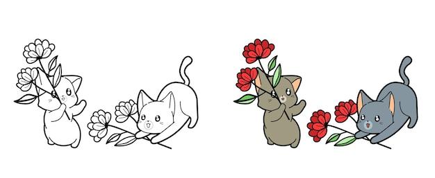 Pagina da colorare di gatti e fiori del fumetto per i bambini