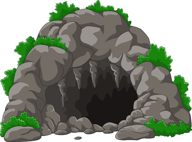 Cartone animato la grotta con stalattiti